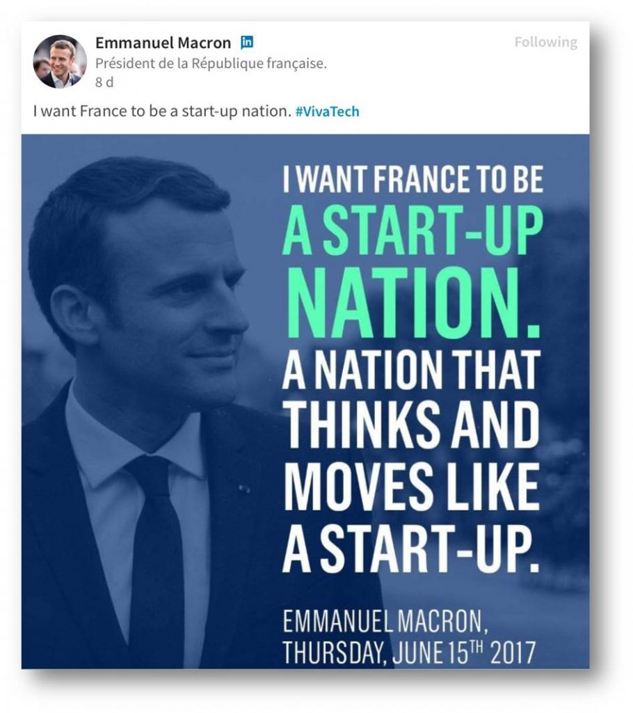 macron tweet france as a start-up nation